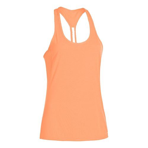 Womens Under Armour Fly-By Stretch Mesh Tank Technical Tops - Afterglow M