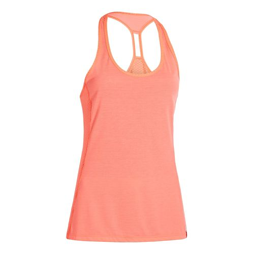 Womens Under Armour Fly-By Stretch Mesh Tank Technical Tops - Crystal Pink L