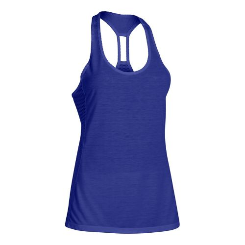 Womens Under Armour UA Fly-By Stretch Mesh Tank Technical Tops - Iris XL