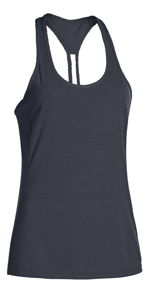 Womens Under Armour Fly-By Stretch Mesh Tank Technical Tops - Lead/Reflective L