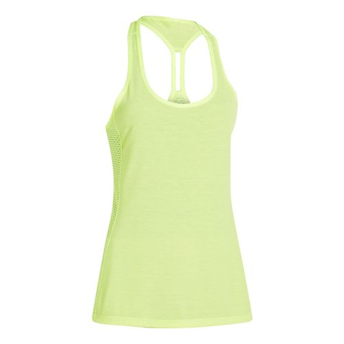 Womens Under Armour Fly-By Stretch Mesh Tank Technical Tops - Laser Yellow L