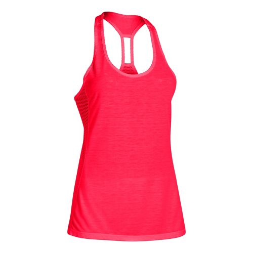 Womens Under Armour UA Fly-By Stretch Mesh Tank Technical Tops - Neon Red M