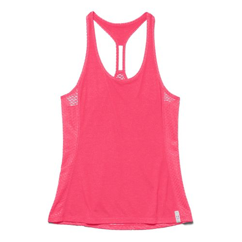 Womens Under Armour UA Fly-By Stretch Mesh Tank Technical Tops - Pink Shock L
