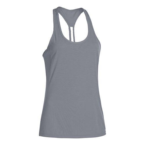 Womens Under Armour UA Fly-By Stretch Mesh Tank Technical Tops - Steel M