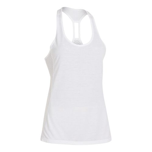 Womens Under Armour Fly-By Stretch Mesh Tank Technical Tops - White M