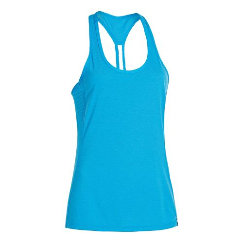 Womens Under Armour UA Fly-By Stretch Mesh Tank Technical Tops - Faded Ink S