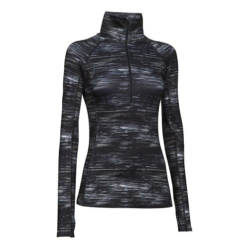 Womens Under Armour Coldgear Cozy Printed Long Sleeve 1/2 Zip Technical Tops - Black/White S ...