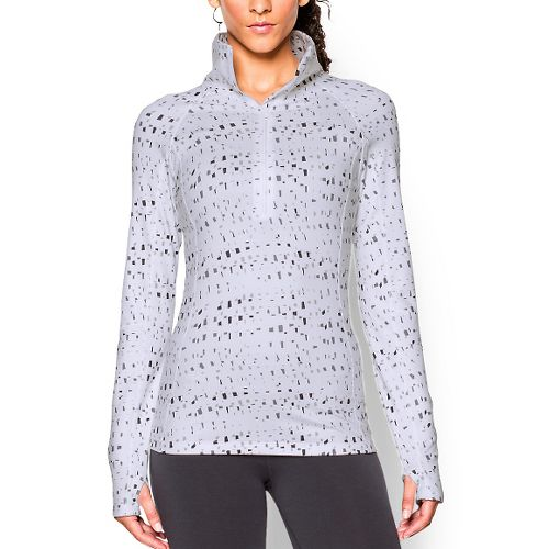 Womens Under Armour Coldgear Cozy Printed Long Sleeve 1/2 Zip Technical Tops - White/Black S ...