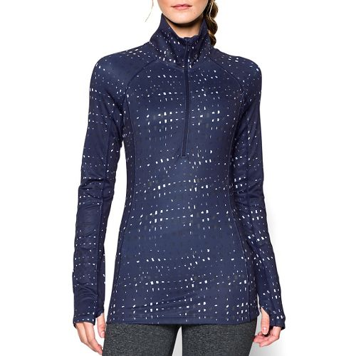 Womens Under Armour Coldgear Cozy Printed Long Sleeve 1/2 Zip Technical Tops - Blue ...