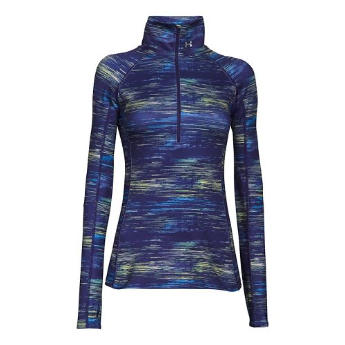 Womens Under Armour Coldgear Cozy Printed Long Sleeve 1/2 Zip Technical Tops - Europa/Purple S ...