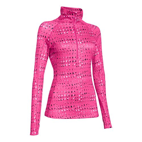 Womens Under Armour Coldgear Cozy Printed Long Sleeve 1/2 Zip Technical Tops - Rebel ...