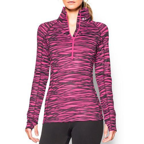 Womens Under Armour Coldgear Cozy Printed Long Sleeve 1/2 Zip Technical Tops - Rebel Pink/Black ...