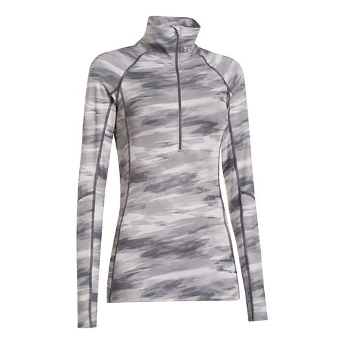 Womens Under Armour Coldgear Cozy Printed Long Sleeve 1/2 Zip Technical Tops - Grey/Print L ...