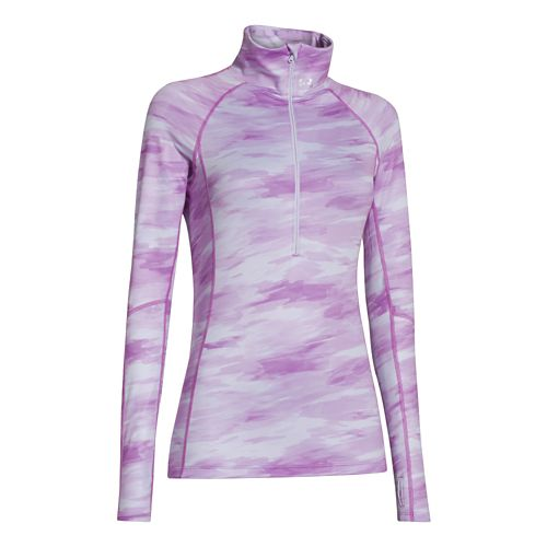 Womens Under Armour Coldgear Cozy Printed Long Sleeve 1/2 Zip Technical Tops - Lilac/Print M ...