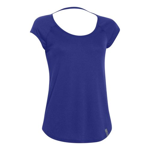 Womens Under Armour UA Fly-By Printed Short Sleeve Technical Tops - Iris XL