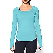 Womens Under Armour UA Fly-By Long Sleeve No Zip Technical Tops - Veneer M