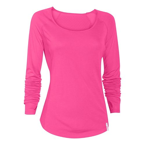 Womens Under Armour UA Fly-By Long Sleeve No Zip Technical Tops - Rebel Pink XS ...