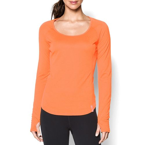 Womens Under Armour UA Fly-By Long Sleeve No Zip Technical Tops - Cyber Orange M ...