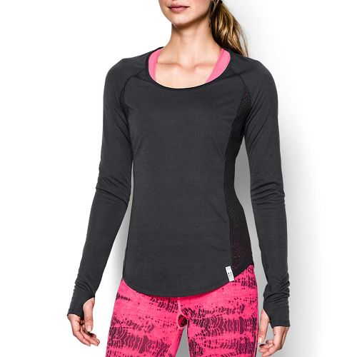 Womens Under Armour UA Fly-By Long Sleeve No Zip Technical Tops - Black S