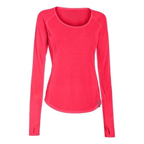 Womens Under Armour UA Fly-By Long Sleeve No Zip Technical Tops - Neon Red L ...