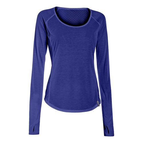 Womens Under Armour UA Fly-By Long Sleeve No Zip Technical Tops - Europa Purple M ...