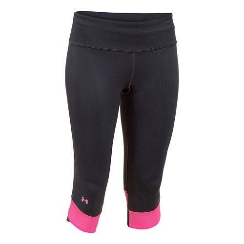 Womens Under Armour Fly-By Compression Capri Tights - Black/Rebel Pink L