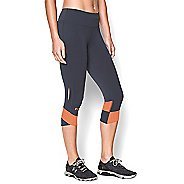 Womens Under Armour Fly-By Compression Capri Tights - Grey/Cyber Orange S