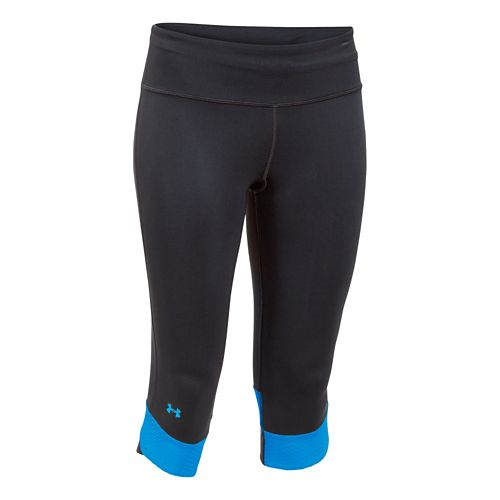 Womens Under Armour Fly-By Compression Capri Tights - Black/Jazz Blue XS