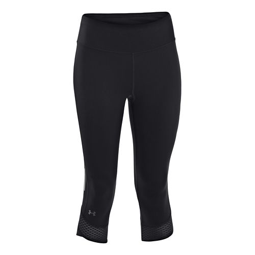 Womens Under Armour Fly-By Compression Capri Tights - Black XS
