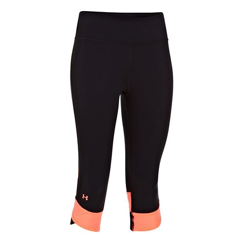 Womens Under Armour Fly-By Compression Capri Tights - Black/Brilliance XS