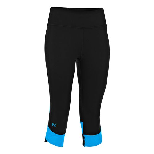 Womens Under Armour Fly-By Compression Capri Tights - Black/Electric Blue XS