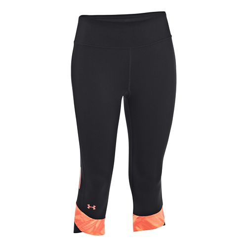 Womens Under Armour Fly-By Compression Capri Tights - Black/Neo Pulse XL