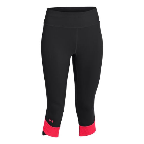 Womens Under Armour UA Fly-By Compression Capri Tights - Black/Neon Red L