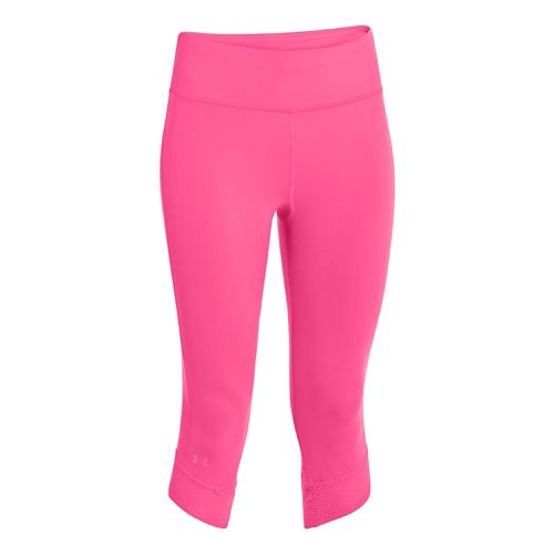 Womens Under Armour Fly-By Compression Capri Tights - Cerise/Cerise XL