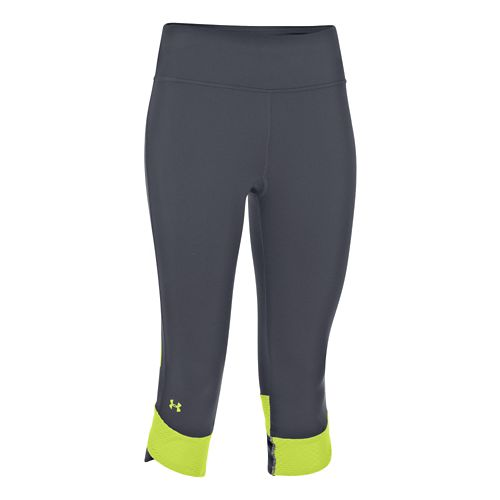 Womens Under Armour Fly-By Compression Capri Tights - Lead/X-Ray S