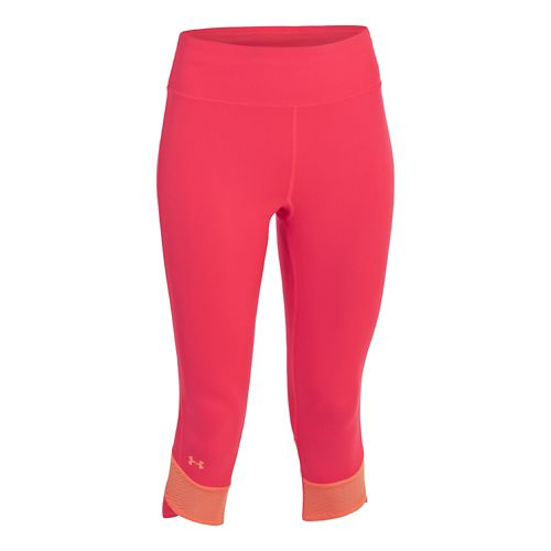 Womens Under Armour Fly-By Compression Capri Tights - Neo Pulse/Afterglow XL