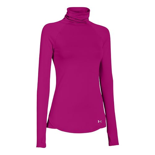 Womens Under Armour UA Qualifier Turtle Neck Long Sleeve No Zip Technical Tops - Magenta ...