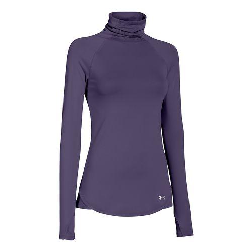Womens Under Armour UA Qualifier Turtle Neck Long Sleeve No Zip Technical Tops - Purple ...