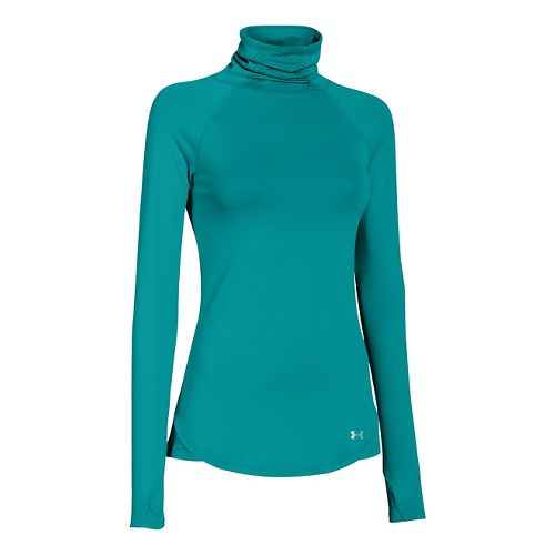 Womens Under Armour UA Qualifier Turtle Neck Long Sleeve No Zip Technical Tops - Teal ...