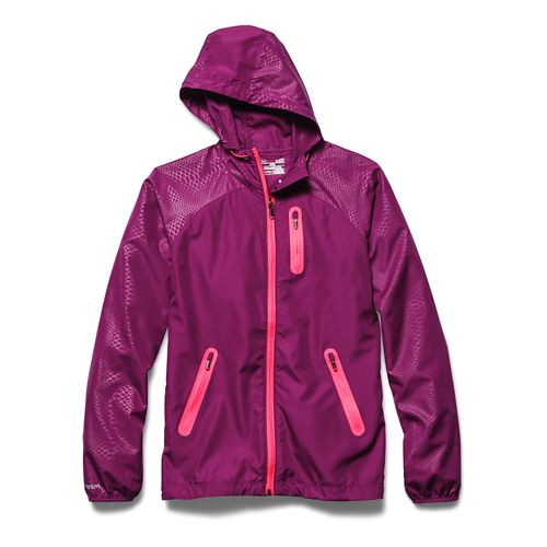 Womens Under Armour UA Qualifier Woven Running Jackets - Aubergine/Pink Shock XS