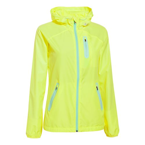Womens Under Armour UA Qualifier Woven Running Jackets - X-Ray/Crystal L
