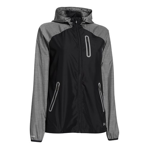 Womens Under Armour UA Qualifier Woven Running Jackets - Black/Metallic Silver L