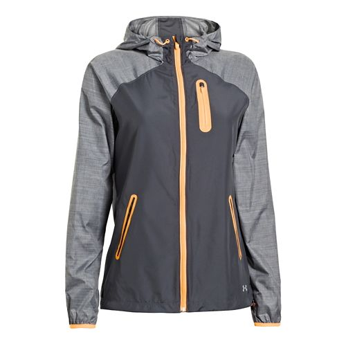 Womens Under Armour UA Qualifier Woven Running Jackets - Lead/Electric Tangerine M