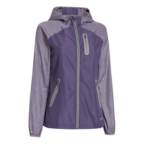 Womens Under Armour UA Qualifier Woven Running Jackets - Purple L