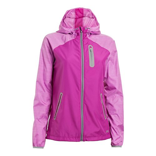 Womens Under Armour UA Qualifier Woven Running Jackets - Strobe/Steel XS