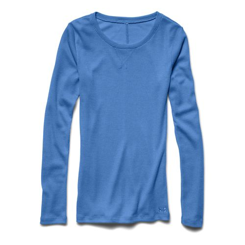 Womens Under Armour Cozy Waffle Long Sleeve No Zip Technical Tops - Picasso Blue XL ...