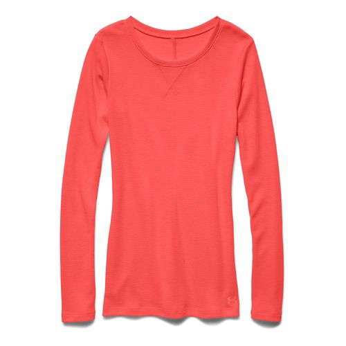 Womens Under Armour Cozy Waffle Long Sleeve No Zip Technical Tops - After Burn M ...
