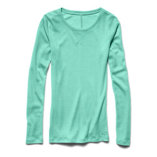 Womens Under Armour Cozy Waffle Long Sleeve No Zip Technical Tops - Crystal XS