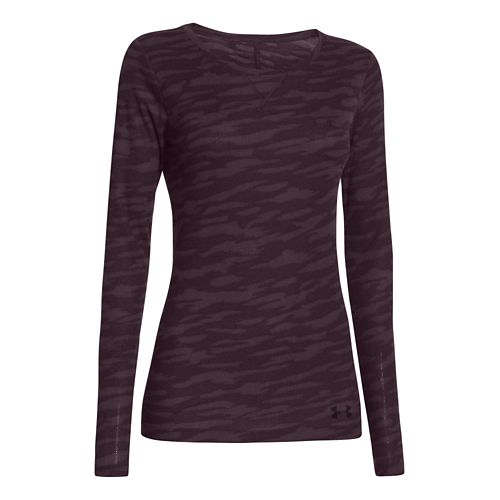 Womens Under Armour Cozy Waffle Long Sleeve No Zip Technical Tops - Purple/Camoflauge L