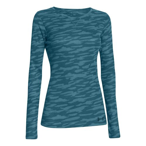 Womens Under Armour Cozy Waffle Long Sleeve No Zip Technical Tops - Teal/Camoflauge S